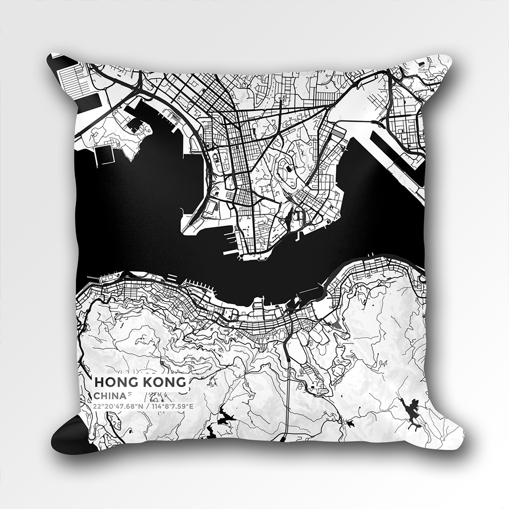Map Throw Pillow of Hong Kong China - Subtle Black Ink
