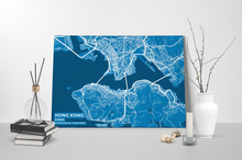 Gallery Wrapped Map Canvas of Hong Kong China - Subtle Blue Contrast
