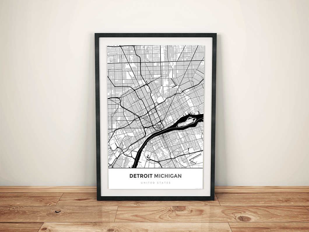 Premium Map Poster of Detroit Michigan - Map Art & Travel Decor ...