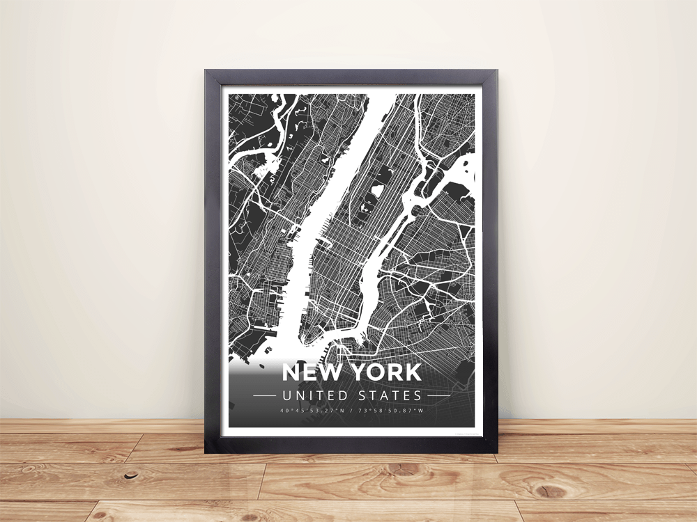 Framed Map Poster of New York United States - Modern Contrast