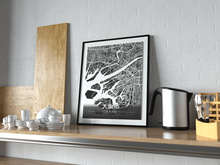 Premium Map Poster of Osaka Japan - Modern Contrast - Unframed