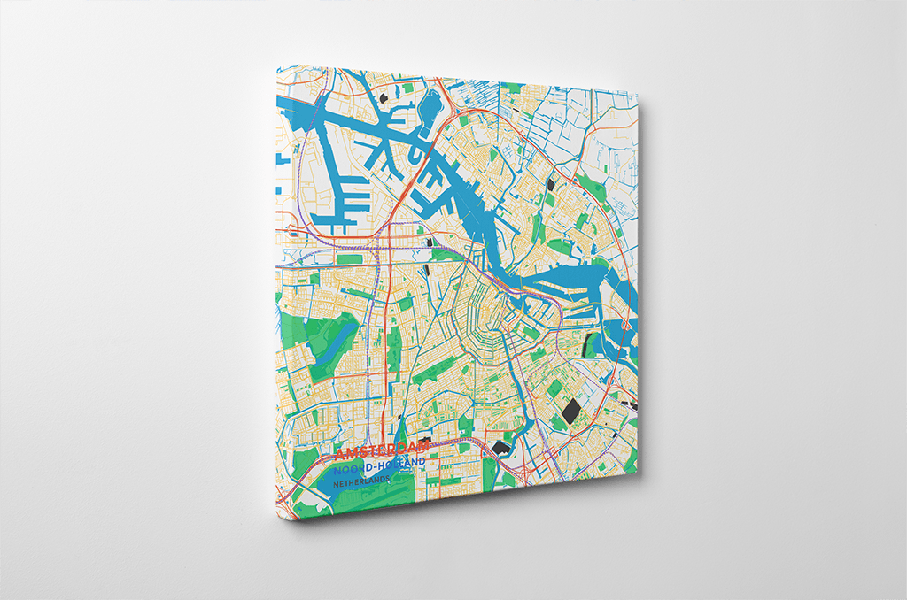 Gallery Wrapped Map Canvas of Amsterdam Noord-Holland - Subtle Colorful