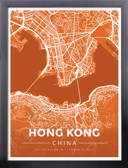 Framed Map Poster of Hong Kong China - Modern Burnt
