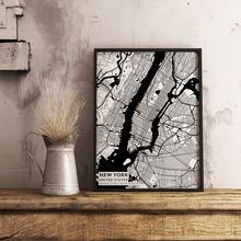 Premium Map Poster of New York United States - Subtle Black Ink - Unframed