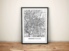 Premium Map Poster of Bangkok Thailand - Simple Black Ink - Unframed