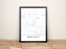 Framed Map Poster of Berlin Germany - Simple Ski Map - Berlin Map Art
