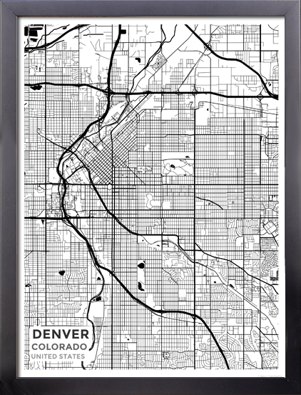 Framed Map Poster of Denver Colorado - Subtle Black Ink - Denver Map Art