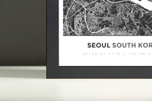 Framed Map Poster of Seoul South Korea - Simple Contrast