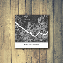 Gallery Wrapped Map Canvas of Seoul South Korea - Simple Contrast