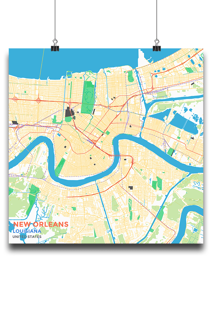 Louisiana New Orleans Map.Premium Map Poster Of New Orleans Louisiana Map Art Travel Decor