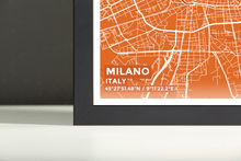 Framed Map Poster of Milano Italy - Subtle Burnt