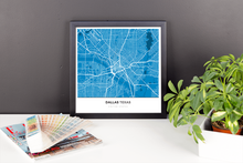 Framed Map Poster of Dallas Texas - Simple Blue Contrast - Dallas Map Art