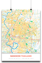 Premium Map Poster of Bangkok Thailand - Simple Colorful - Unframed