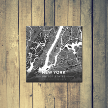 Gallery Wrapped Map Canvas of New York United States - Modern Contrast