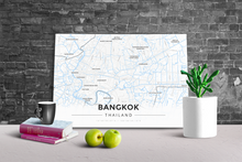 Gallery Wrapped Map Canvas of Bangkok Thailand - Modern Ski Map