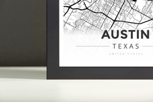Framed Map Poster of Austin Texas - Modern Black Ink - Austin Map Art