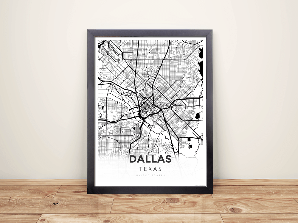 Framed Map Poster of Dallas Texas - Modern Black Ink - Dallas Map Art