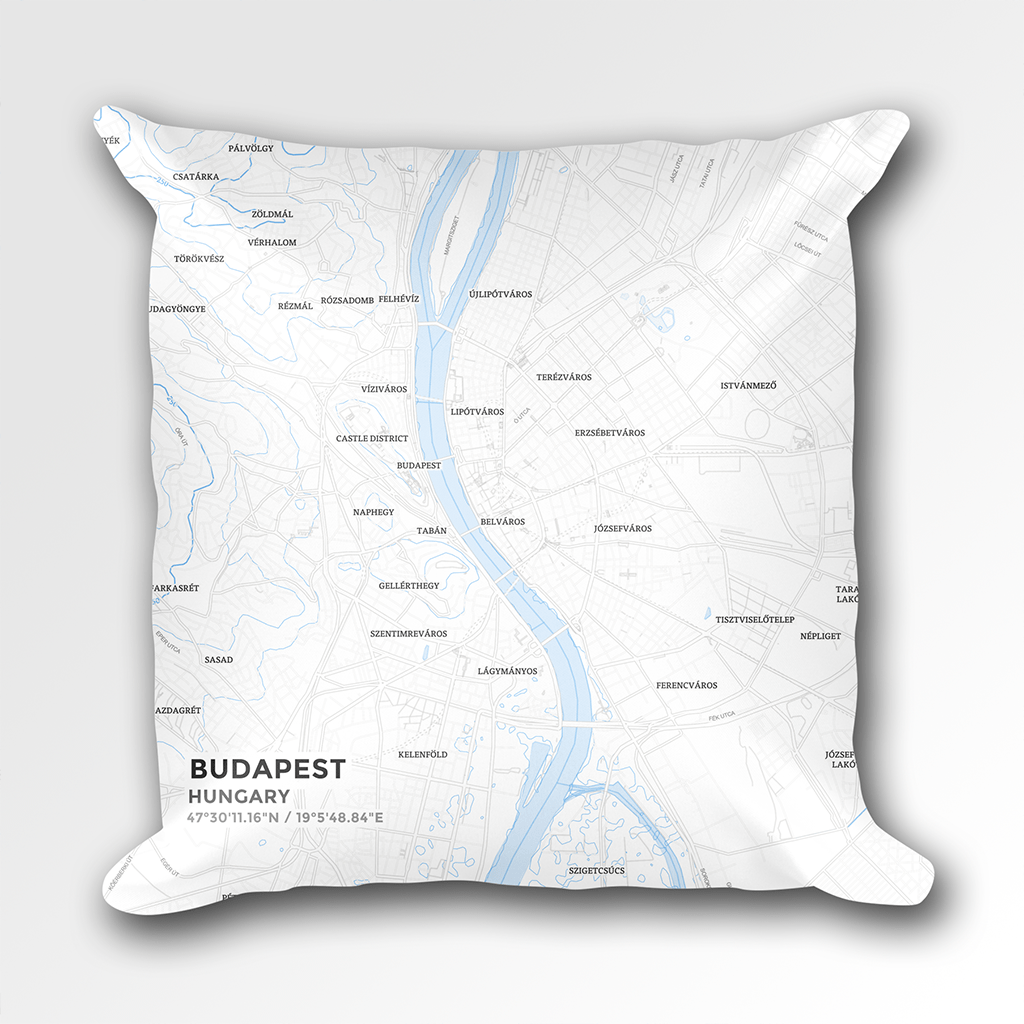 Map Throw Pillow of Budapest Hungary - Subtle Ski Map - Budapest Map Art