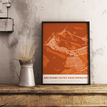 Premium Map Poster of Abu Dhabi United Arab Emirates - Simple Burnt - Unframed - Abu Dhabi Map Art
