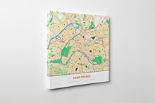 Gallery Wrapped Map Canvas of Paris France - Simple Colorful