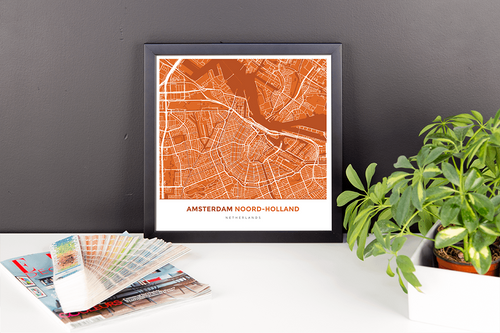 Framed Map Poster of Amsterdam Noord-Holland - Simple Burnt