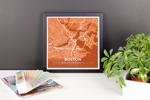 Framed Map Poster of Boston Massachusetts - Modern Burnt - Boston Map Art