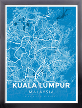 Framed Map Poster of Kuala Lumpur Malaysia - Modern Blue Contrast