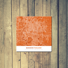 Gallery Wrapped Map Canvas of Bangkok Thailand - Simple Burnt