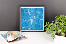 Framed Map Poster of Atlanta Georgia - Subtle Blue Contrast - Atlanta Map Art