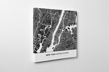 Gallery Wrapped Map Canvas of New York United States - Simple Contrast