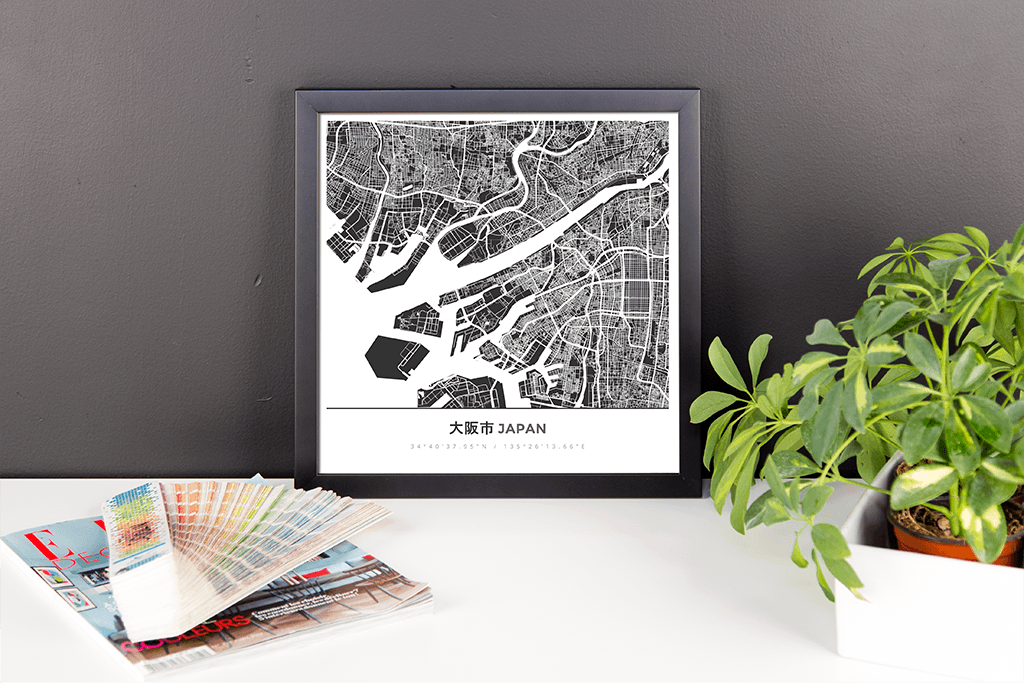 Framed Map Poster of Osaka Japan - Simple Contrast
