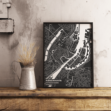 Premium Map Poster of Copenhagen Denmark - Subtle Contrast - Unframed - Copenhagen Map Art