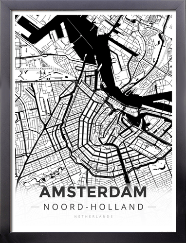 Framed Map Poster of Amsterdam Noord-Holland - Modern Black Ink