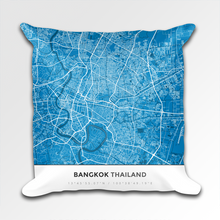 Map Throw Pillow of Bangkok Thailand - Simple Blue Contrast