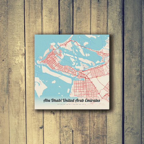 Gallery Wrapped Map Canvas of Abu Dhabi United Arab Emirates - Lobster Retro - Abu Dhabi Map Art