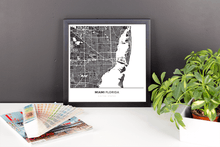 Framed Map Poster of Miami Florida - Simple Contrast - Miami Map Art