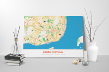 Gallery Wrapped Map Canvas of Lisbon Portugal - Simple Colorful - Lisbon Map Art
