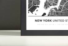Framed Map Poster of New York United States - Simple Contrast