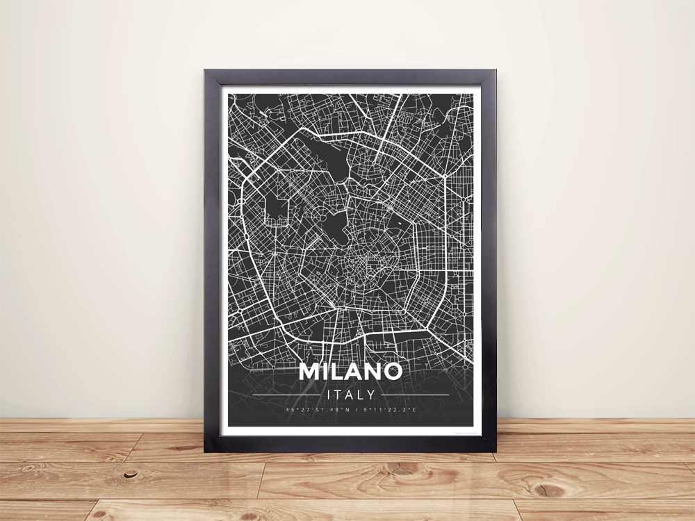 Framed Map Poster of Milano Italy - Modern Contrast
