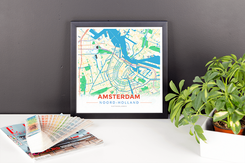 Framed Map Poster of Amsterdam Noord-Holland - Modern Colorful