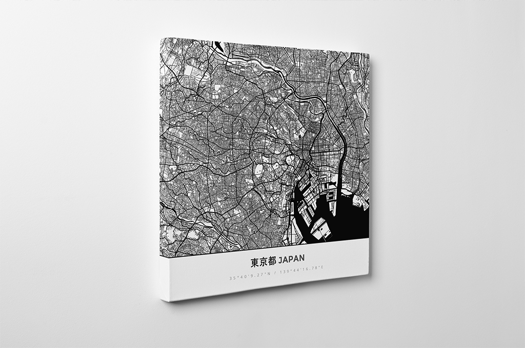 Gallery Wrapped Map Canvas of Tokyo Japan - Simple Black Ink