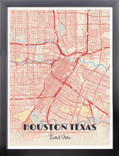 Framed Map Poster of Houston Texas - Diner Retro - Houston Map Art