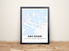 Framed Map Poster of Abu Dhabi United Arab Emirates - Modern Ski Map - Abu Dhabi Map Art