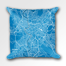 Map Throw Pillow of Rome Italy - Subtle Blue Contrast