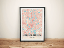 Premium Map Poster of Orlando Florida - Diner Retro - Unframed - Orlando Map Art
