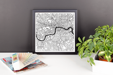 Framed Map Poster of London England - Subtle Black Ink
