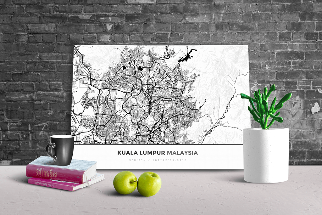 Gallery Wrapped Map Canvas of Kuala Lumpur Malaysia - Simple Black Ink