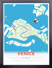 Framed Map Poster of Venice Italy - Modern Colorful - Venice Map Art