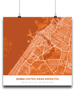 Premium Map Poster of Dubai United Arab Emirates - Simple Burnt - Unframed
