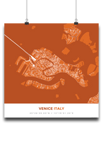 Premium Map Poster of Venice Italy - Simple Burnt - Unframed - Venice Map Art